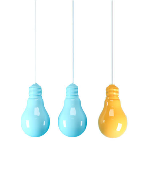Three colorful light bulbs