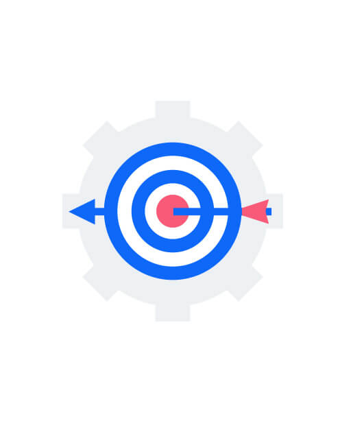 Arrow hitting target on a cogwheel